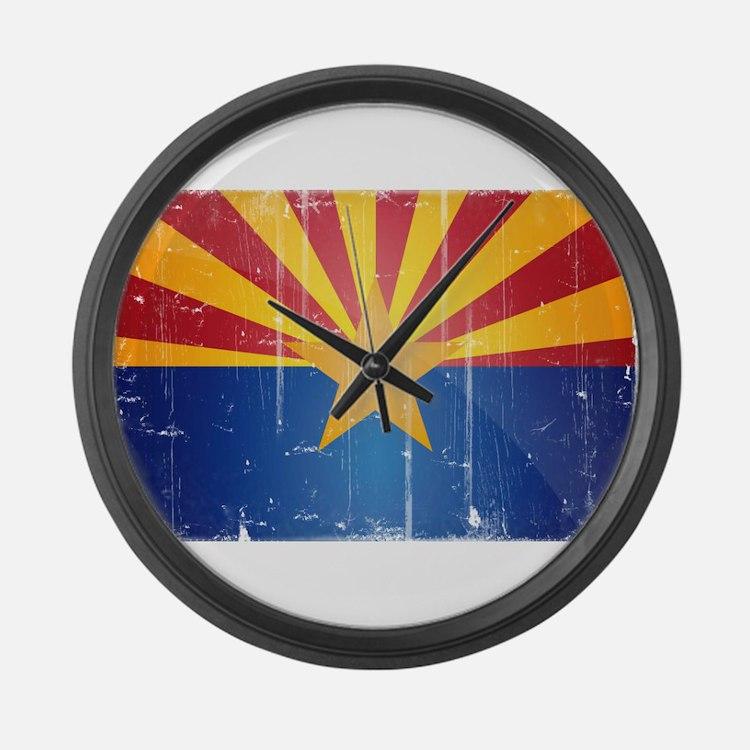 Arizona Flag Distressed Large Wall Clock