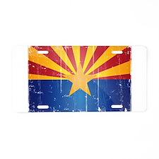 Arizona Flag Distressed Aluminum License Plate