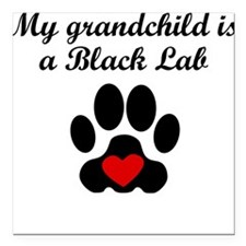 "Black Lab Grandchild Square Car Magnet 3"" x 3"""