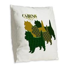 Cairn Terrier Silhouttes Burlap Throw Pillow