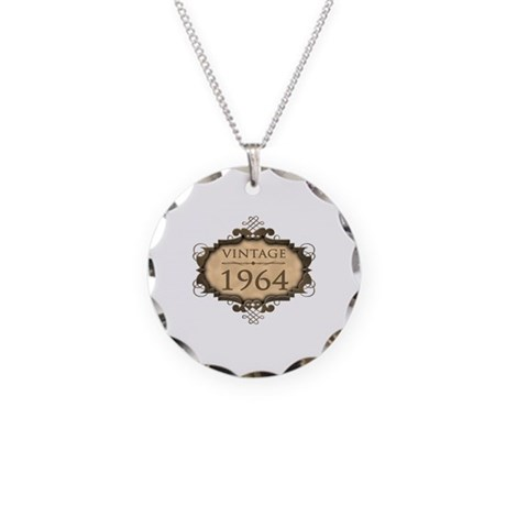 1964 Birth Year (Rustic) Necklace Circle Charm