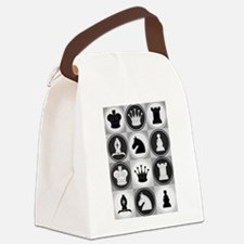 Chessboard Pattern Canvas Lunch Bag