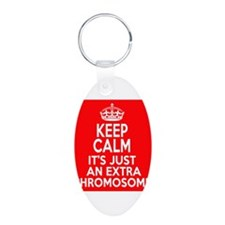 Stay Calm Chromosome Aluminum Oval Keychain