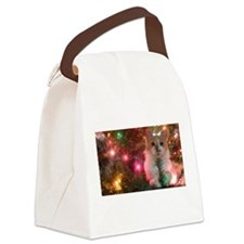 Christmas Kitty Canvas Lunch Bag