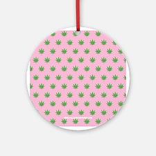 Pot Weed Leaf High Hippie Pink Ornament (Round)
