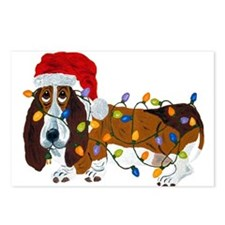 Basset Tangled In Christmas Lights Postcards (Pack