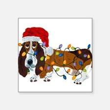 Basset Tangled In Christmas Lights Sticker