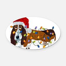 Basset Tangled In Christmas Lights Oval Car Magnet