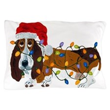 Basset Tangled In Christmas Lights Pillow Case