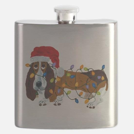 Basset Tangled In Christmas Lights Flask
