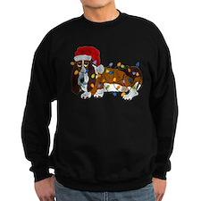 Basset Tangled In Christmas Lights Sweatshirt