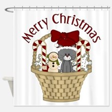 Christmas Cat and Candy Cane Basket Shower Curtain
