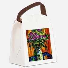Still Life with Peonies in a Vase Canvas Lunch Bag