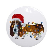 Basset Tangled In Christmas Lights Round Ornament