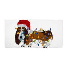 Basset Tangled In Christmas Lights Beach Towel