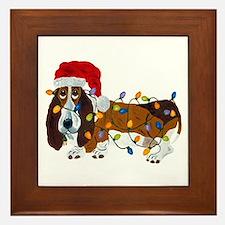 Basset Tangled In Christmas Lights Framed Tile