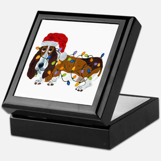 Basset Tangled In Christmas Lights Keepsake Box