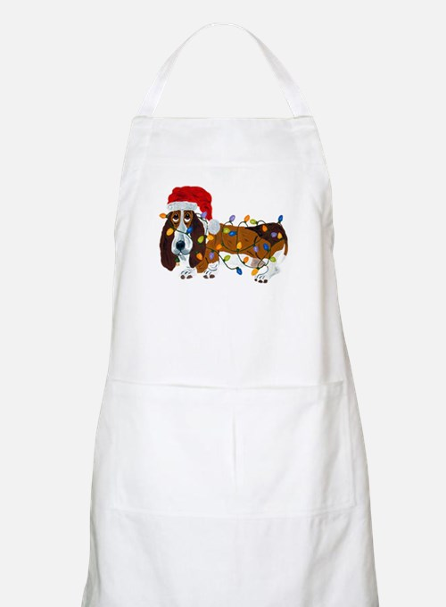 Basset Tangled In Christmas Lights Apron