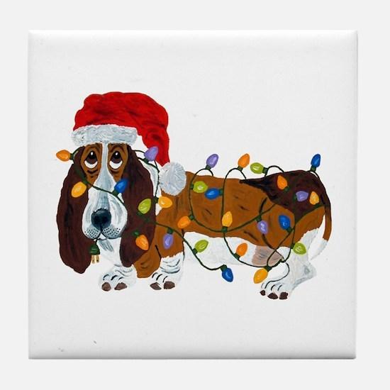 Basset Tangled In Christmas Lights Tile Coaster