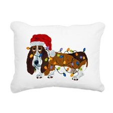 Basset Tangled In Christmas Lights Rectangular Can