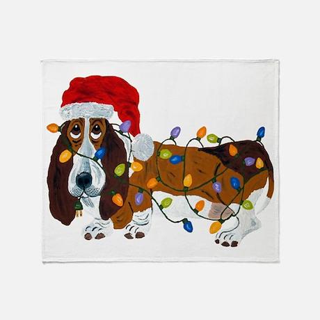 Basset Tangled In Christmas Lights