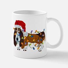 Basset Tangled In Christmas Lights Mugs
