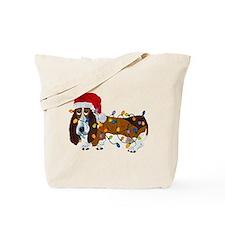 Basset Tangled In Christmas Lights Tote Bag