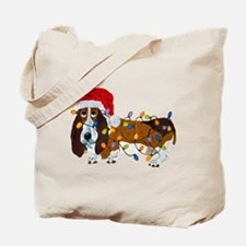 Basset Tangled In Christmas Lights Tote Bag