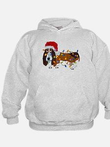 Basset Tangled In Christmas Lights Hoodie