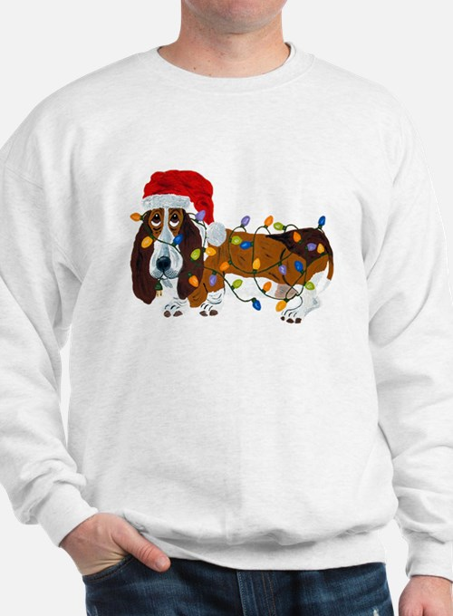 Basset Tangled In Christmas Lights Sweatshirt
