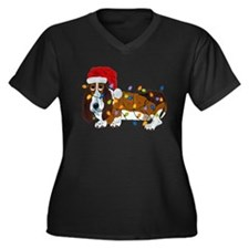 Basset Tangled In Christmas Lights Plus Size T-Shi