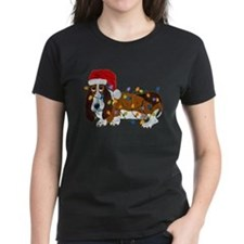 Basset Tangled In Christmas Lights T-Shirt