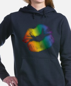 Big Rainbow Lips Woman's Hooded Sweatshirt