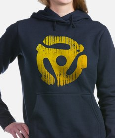 Distressed Yellow 45 RPM Adapter Woman's Hooded Sw