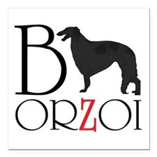 Borzoi Logo Square Car Magnet 3&Quot; X 3&Quot;