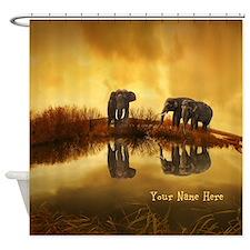 Elephant Custom Name Shower Curtain