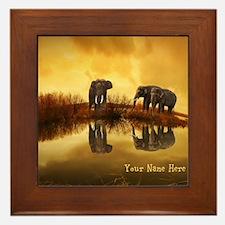 Elephant Custom Name Framed Tile