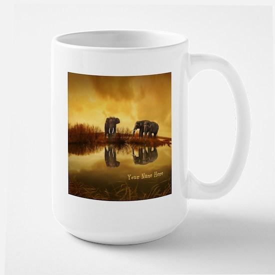 Elephant Custom Name Large Mug