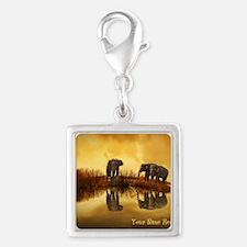Elephant Custom Name Silver Square Charm