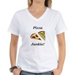 Pizza Junkie Women's V-Neck T-Shirt