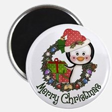 Christmas Penguin and Gifts Wreath Magnet