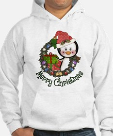 Christmas Penguin and Gifts Wreath Hoodie