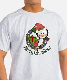Christmas Penguin and Gifts Wreath T-Shirt