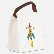 Blast Off! Rocket Ship Canvas Lunch Bag