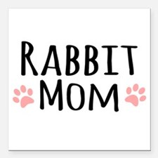 "Rabbit Mom Square Car Magnet 3"" x 3"""