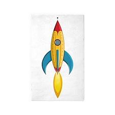 Rocket Ship 3'X5' Area Rug