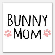 """Bunny Mom Square Car Magnet 3"""" x 3"""""""