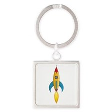 Rocket Ship Square Keychain