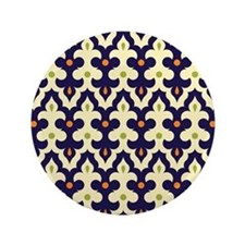 """Moroccan Arabesque Damask Morrocan Pai 3.5"""" Button"""