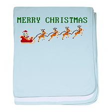 8-bit Merry Christmas | Santa Reindeer baby blanke